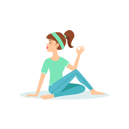 Half Twist Ardha Matsyendrasana Yoga Pose Demonstrated By The Girl Cartoon Yogi With Ponytail In Blue Sportive Clothing Vector Illustration. Part Of Collection Of Yoga Asana Postures Drawing With Young Woman In Training Outfit Illustration