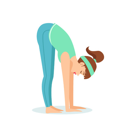 Standing Forward Bend Uttanasana Yoga Pose Demonstrated By The Girl Cartoon Yogi With Ponytail In Blue Sportive Clothing Vector Illustration. Part Of Collection Of Yoga Asana Postures Drawing With Young Woman In Training Outfit
