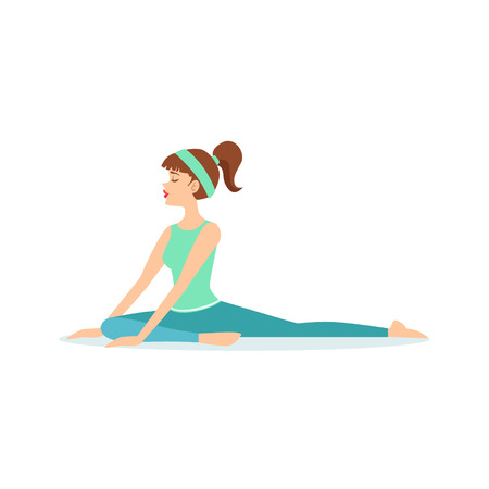 yogi: One Legged King Pigeon Eka Pada Rajakapotasana Yoga Pose Demonstrated By The Girl Cartoon Yogi With Ponytail In Blue Sportive Clothing Vector Illustration. Part Of Collection Of Yoga Asana Postures Drawing With Young Woman In Training Outfit