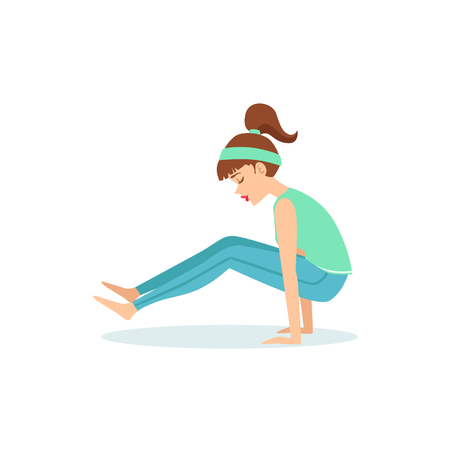 Firefly Tittibhasana Yoga Pose Demonstrated By The Girl Cartoon Yogi With Ponytail In Blue Sportive Clothing Vector Illustration. Part Of Collection Of Yoga Asana Postures Drawing With Young Woman In Training Outfit Illustration