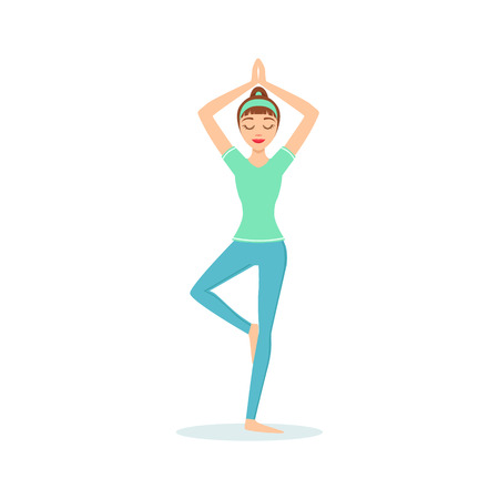 Tree Vriksasana Yoga Pose Demonstrated By The Girl Cartoon Yogi With Ponytail In Blue Sportive Clothing Vector Illustration. Part Of Collection Of Yoga Asana Postures Drawing With Young Woman In Training Outfit Illustration