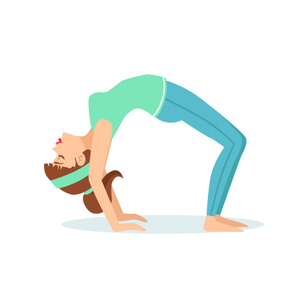 Wheel Chakrasana Yoga Pose Demonstrated By The Girl Cartoon Yogi With Ponytail In Blue Sportive Clothing Vector Illustration. Part Of Collection Of Yoga Asana Postures Drawing With Young Woman In Training Outfit Illustration