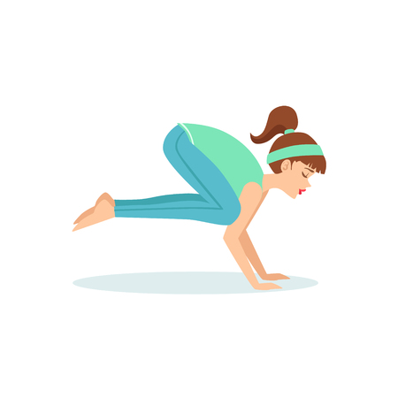 Crane Bakasana Yoga Pose Demonstrated By The Girl Cartoon Yogi With Ponytail In Blue Sportive Clothing Vector Illustration. Part Of Collection Of Yoga Asana Postures Drawing With Young Woman In Training Outfit Illustration