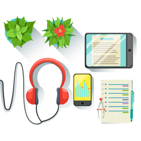 Office Employee Workplace With Tablet, Smartphone And Headphones, Set Of Working Stationary And Electronics. Items For Fully Equipped Working Table Vector Illustration With View From Above.