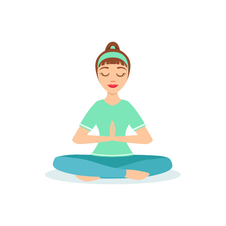 Lotus With Praying Hands Padmasana Yoga Pose Demonstrated By The Girl Cartoon Yogi With Ponytail In Blue Sportive Clothing Vector Illustration. Part Of Collection Of Yoga Asana Postures Drawing With Young Woman In Training Outfit