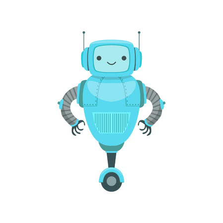 Blue Friendly  Robot Character With Two Antennas Vector Cartoon Illustration. Futuristic Bionic Person Portrait In Childish Manner, Part Of Fantasy Droids Collection. Illustration