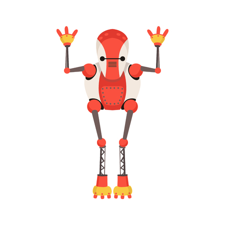 Red And White   Robot Character With Thin Extremities Vector Cartoon Illustration. Futuristic Bionic Person Portrait In Childish Manner, Part Of Fantasy Droids Collection.