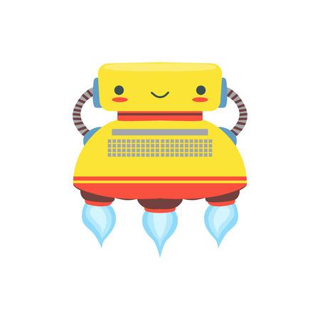 Gele Flying Vriendschappelijke Robot Character In Vorm Van Illustratie Typewriter Vector Cartoon. Futuristische Bionic Persoon Portret In Kinderachtig Manner, Onderdeel van Fantasy Droids Collection. Stock Illustratie