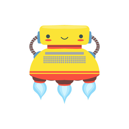 Yellow Flying Friendly   Robot Character In Shape Of Typewriter Vector Cartoon Illustration. Futuristic Bionic Person Portrait In Childish Manner, Part Of Fantasy Droids Collection. Illustration
