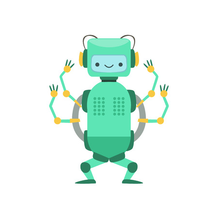 manner: Green Friendly  Robot Character With Four Arms Vector Cartoon Illustration. Futuristic Bionic Person Portrait In Childish Manner, Part Of Fantasy Droids Collection.