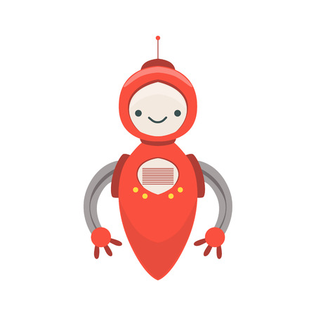 Red Friendly   Robot Character Without Legs Vector Cartoon Illustration. Futuristic Bionic Person Portrait In Childish Manner, Part Of Fantasy Droids Collection.