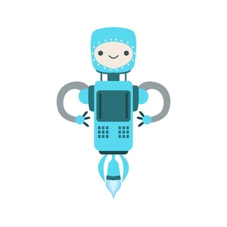 manner: Blue Friendly Flying  Robot Character Vector Cartoon Illustration. Futuristic Bionic Person Portrait In Childish Manner, Part Of Fantasy Droids Collection. Illustration