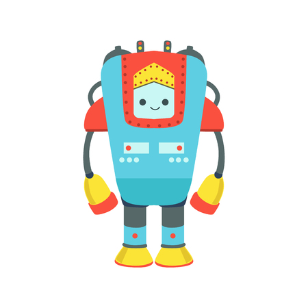 Blue And Red Giant Friendly  Robot Character Vector Cartoon Illustration. Futuristic Bionic Person Portrait In Childish Manner, Part Of Fantasy Droids Collection. Illustration