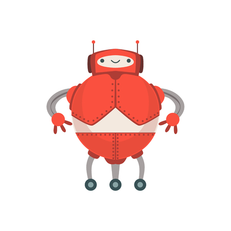 Red Fat Friendly  Robot Character With Two Antennas Vector Cartoon Illustration. Futuristic Bionic Person Portrait In Childish Manner, Part Of Fantasy Droids Collection.