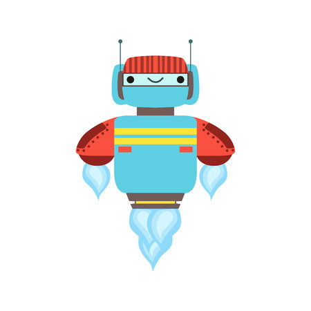 manner: Blue And Red Friendly   Robot Character Floating Mid Air Vector Cartoon Illustration. Futuristic Bionic Person Portrait In Childish Manner, Part Of Fantasy Droids Collection.