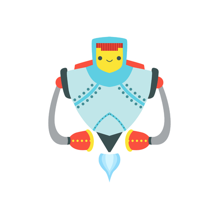 Strong Metal Flying Friendly Robot Character Vector Cartoon Illustration. Futuristic Bionic Person Portrait In Childish Manner, Part Of Fantasy Droids Collection. Illustration