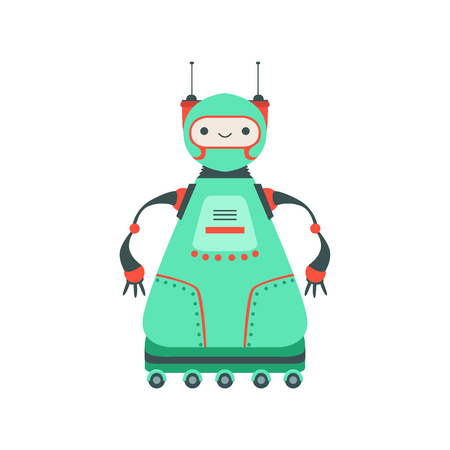 manner: Green Friendly   Robot Character On Six Wheels Vector Cartoon Illustration. Futuristic Bionic Person Portrait In Childish Manner, Part Of Fantasy Droids Collection.