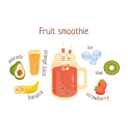 nonalcoholic: Fruit Smoothie Infographic Recipe With Needed Ingredients And Finished Mixed Non-Alcoholic Cocktail Drink In The Middle Cartoon Vector Illustration.Healthy Diet Blended Fresh Smoothie In A Glass With A Straw Preparation Info Drawing.