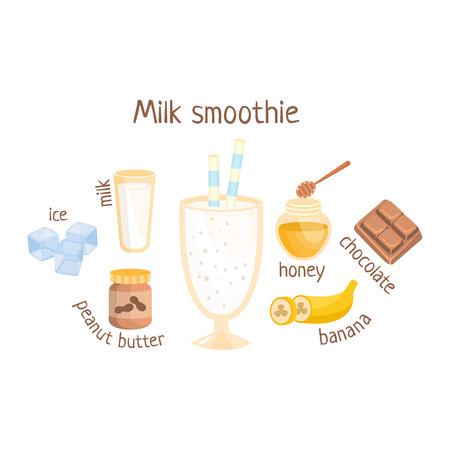 nonalcoholic: Milk Smoothie Infographic Recipe With Needed Ingredients And Finished Mixed Non-Alcoholic Cocktail Drink In The Middle Cartoon Vector Illustration. Healthy Diet Blended Fresh Smoothie In A Glass With A Straw Preparation Info Drawing. Illustration