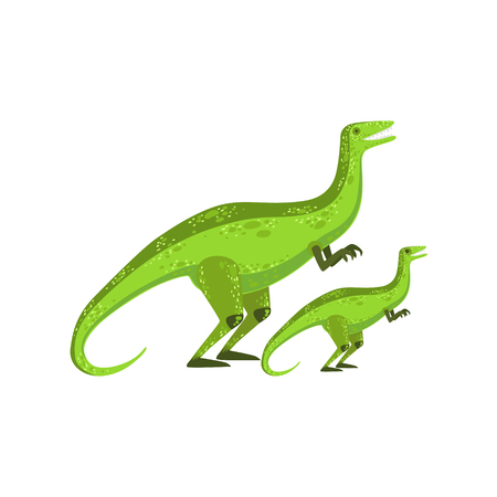 Velociraptor Dinosaur Prehistoric Monster Couple Of Similar Specimen Big And Small Cartoon Vector Illustration. Part Of Jurassic Reptiles Species Collection Of Childish Drawings.