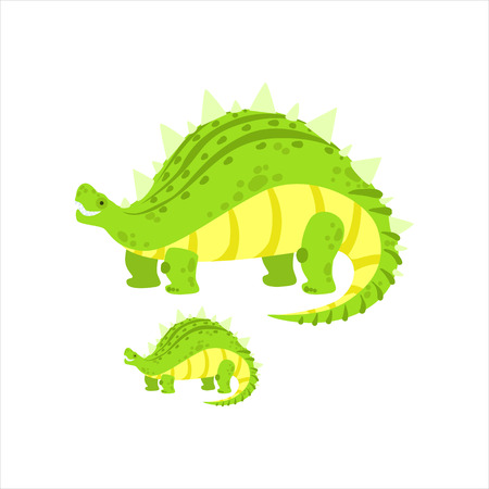 small reptiles: Green Stegosaurus Dinosaur Prehistoric Monster Couple Of Similar Specimen Big And Small Cartoon Vector Illustration. Part Of Jurassic Reptiles Species Collection Of Childish Drawings.