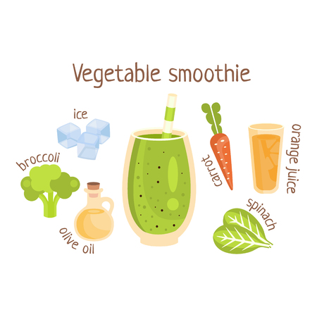 Vegetable Smoothie Infographic Recipe With Needed Ingredients And Finished Mixed Non-Alcoholic Cocktail Drink In The Middle Cartoon Vector Illustration. Healthy Diet Blended Fresh Smoothie In A Glass With A Straw Preparation Info Drawing.