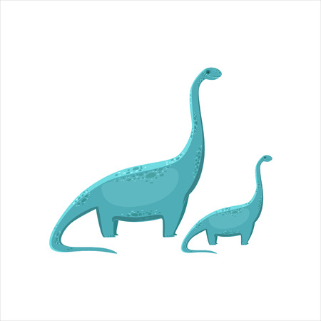 jurassic: Blue Brahiosaurus Dinosaur Prehistoric Monster Couple Of Similar Specimen Big And Small Cartoon Vector Illustration. Part Of Jurassic Reptiles Species Collection Of Childish Drawings.