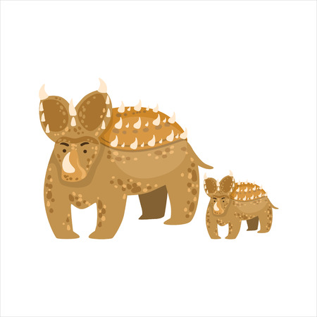 similar: Brown Triceratops Dinosaur Prehistoric Monster Couple Of Similar Specimen Big And Small Cartoon Vector Illustration. Part Of Jurassic Reptiles Species Collection Of Childish Drawings.