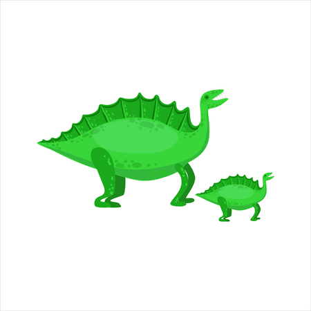 small reptiles: Stegosaurus Dinosaur Prehistoric Monster Couple Of Similar Specimen Big And Small Cartoon Vector Illustration. Part Of Jurassic Reptiles Species Collection Of Childish Drawings.
