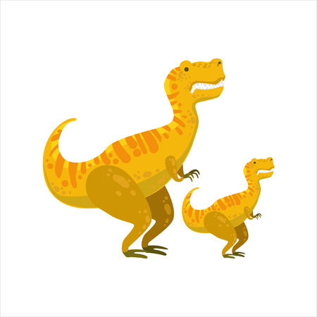 jurassic: Tirannosaurus Rex Dinosaur Prehistoric Monster Couple Of Similar Specimen Big And Small Cartoon Vector Illustration. Part Of Jurassic Reptiles Species Collection Of Childish Drawings.