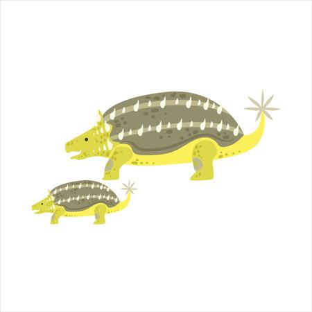 specie: Ankylosaurus Dinosaur Prehistoric Monster Couple Of Similar Specimen Big And Small Cartoon Vector Illustration. Part Of Jurassic Reptiles Species Collection Of Childish Drawings.