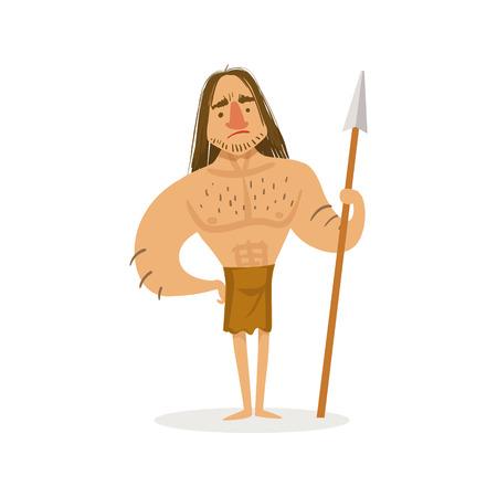Grand guerrier musclé avec une lance portant une illustration de dessin animé en pagne de premier homo sapiens troglodyte en peau d'animal vivant à l'âge de pierre. Partie de l'homme des cavernes néandertalien préhistorique et leur collection historique de dessins vectoriels. Vecteurs