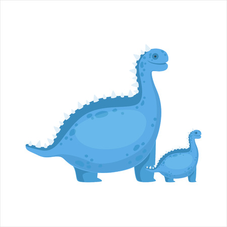 specie: Chubby Blue Iguanodon Dinosaur Prehistoric Monster Couple Of Similar Specimen Big And Small Cartoon Vector Illustration. Part Of Jurassic Reptiles Species Collection Of Childish Drawings.