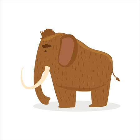 Hairy Brown Extinct Mammoth, Cartoon Ice Age Animal Illustration. Part Of Prehistoric Neanderthal Caveman And Their Historical Surroundings Collection Of Vector Drawings.