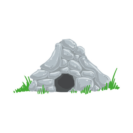 man made: Primitive Stone Age Cave Troglodyte House Man Made Out Of Grey Rocks Living Place. Part Of Prehistoric Neanderthal Caveman And Their Historical Surroundings Collection Of Vector Drawings.