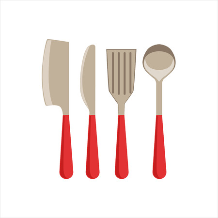 Asian Knife, Sarp Knife, Spatula And Ladle Set Of Metal Kitchen Utensils With Plastic Red Handle. Part Of Cooking And Restaurant Related Objects And Equipment Collection Of Vector Illustrations.