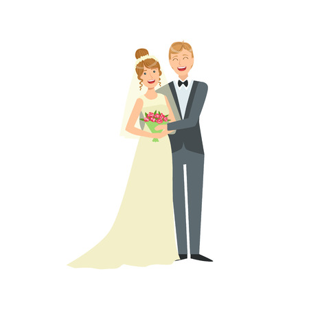 newlywed: Bride And Groom Newlywed Couple In Traditional Wedding Dress And Suit Holding Each Other In Arms Smiling And Posing For Photo. Happy Young Couple On A Wedding Day In Classic Clothing Vector Illustration.