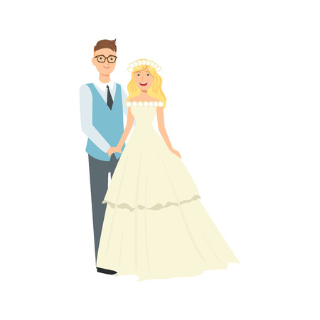 loose hair: Blond Bride With Loose Hair And Groom Newlywed Couple In Traditional Wedding Dress And Suit Smiling And Posing For Photo. Happy Young Couple On A Wedding Day In Classic Clothing Vector Illustration. Illustration