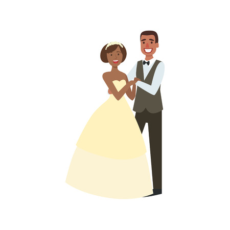 newlywed: Black Bride And Groom Newlywed Couple In Traditional Wedding Dress And Suit Smiling And Posing For Photo. Happy Young Couple On A Wedding Day In Classic Clothing Vector Illustration. Illustration