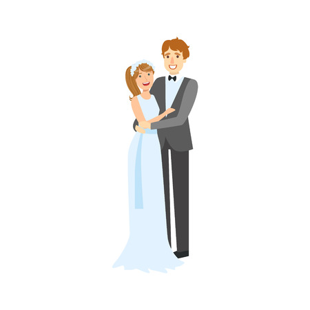 newlywed: Bride And Groom Newlywed Couple In Traditional Blue Wedding Dress And Suit Smiling And Posing For Photo. Happy Young Couple On A Wedding Day In Classic Clothing Vector Illustration.