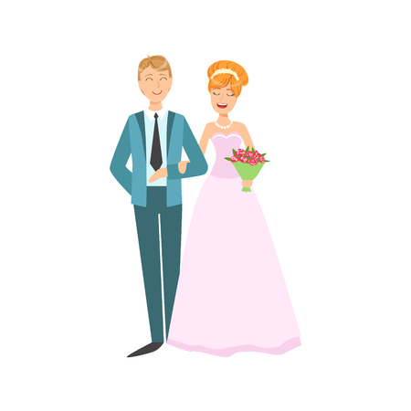 newlywed: Red Head Bride And Groom Newlywed Couple In Pink Traditional Wedding Dress And Suit Smiling And Posing For Photo. Happy Young Couple On A Wedding Day In Classic Clothing Vector Illustration.