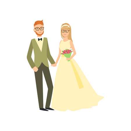 newlywed: Bride And Groom In Glasses Newlywed Couple In Traditional Wedding Dress And Suit Smiling And Posing For Photo. Happy Young Couple On A Wedding Day In Classic Clothing Vector Illustration.