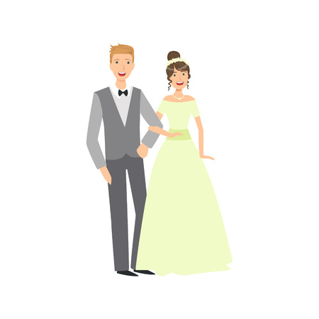 newlywed: Bride And Groom Newlywed Couple In Traditional Greenish Wedding Dress And Suit Smiling And Posing For Photo. Happy Young Couple On A Wedding Day In Classic Clothing Vector Illustration.