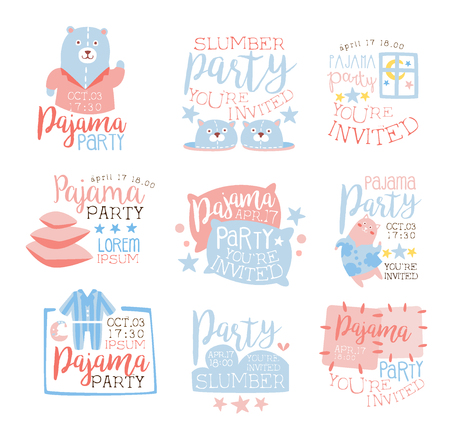 pajama: Pink And Blue Girly Pajama Party Invitation Templates Set Inviting Kids For The Slumber Pyjama Overnight Sleepover Cards. Collection Of Stencils For The Welcome Postcards With Night And Bed Symbols In Pastel Colors.