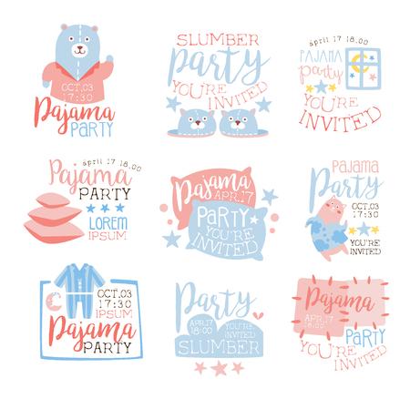 pijamada: Rosa y fiesta de pijama femenino azul plantillas de invitación conjunto acogedor para los niños El pijamas pijama de noche del Sleepover tarjetas. Colección De Plantillas Para las postales de bienvenida con la noche y la cama Símbolos En colores en colores pastel.