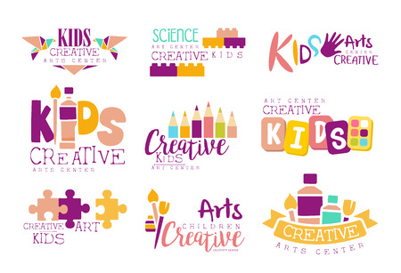science class: Kids Creative And Science Class Template Promotional Set With Symbols Of Art and Creativity, Painting And Origami. Children Artistic Development Promo Advertisement Signs With Text. Illustration