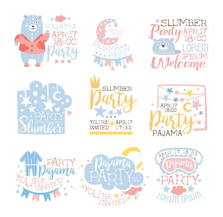 pijamada: Azules y fiesta de pijama rosado femenino plantillas de invitación conjunto acogedor para los niños El pijamas pijama de noche del Sleepover tarjetas. Colección De Plantillas Para las postales de bienvenida con la noche y la cama Símbolos En colores en colores pastel.