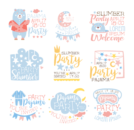 pyjama: Blue And Pink Girly Pajama Party Invitation Templates Set Inviting Kids For The Slumber Pyjama Overnight Sleepover Cards. Collection Of Stencils For The Welcome Postcards With Night And Bed Symbols In Pastel Colors.