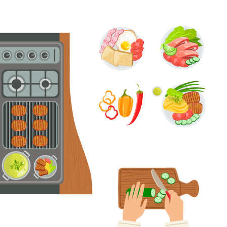 side dish: Stove, Cooked Dishes And Hands Of The Cook Cooking And Cutting Cucumber. Grill Cafe Kitchen Food Preparation Scene. Part Of Grill Restaurant Set Of Cartoon Drawings With Ready Meals And Their Cooking Process. Illustration