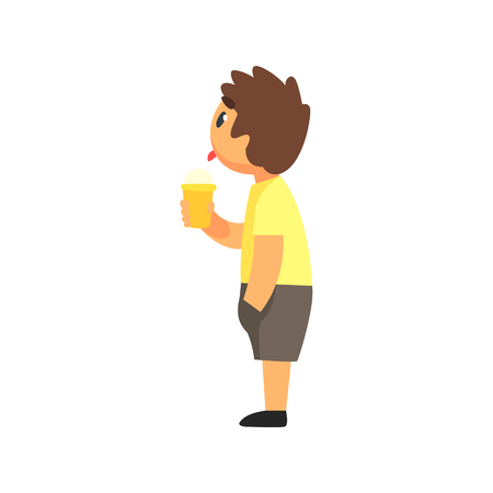 eyes wide open: Boy In Summer Clothes Watching Something Very Interested Licking Ice-Cream. Kid Dressed In T-shirt And Shorts Eating Sweet Gelato Peering On Something Cartoon Vector Illustration. Illustration